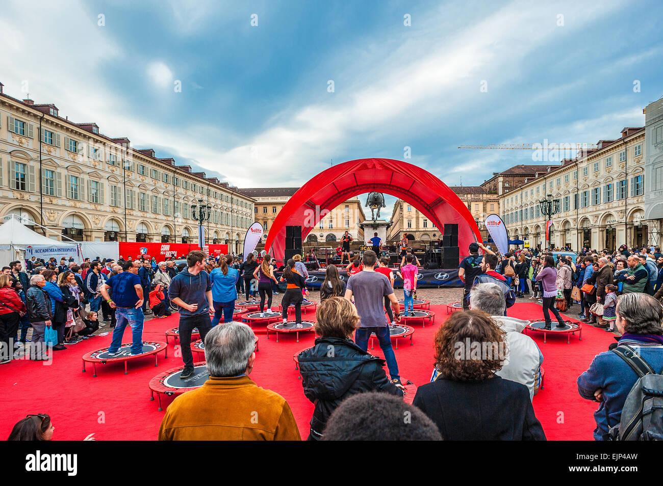 Italie Piémont Turin San Carlo .carré dans le carré de gymnastique Photo Stock