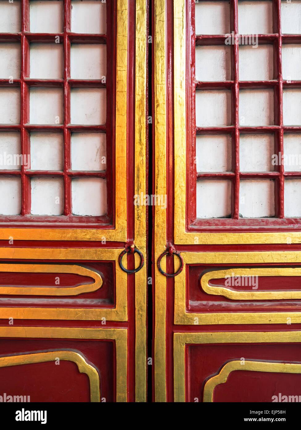 La Chine, Pékin, Cité Interdite, salle de l'harmonie suprême, cour extérieure, porte détail Photo Stock
