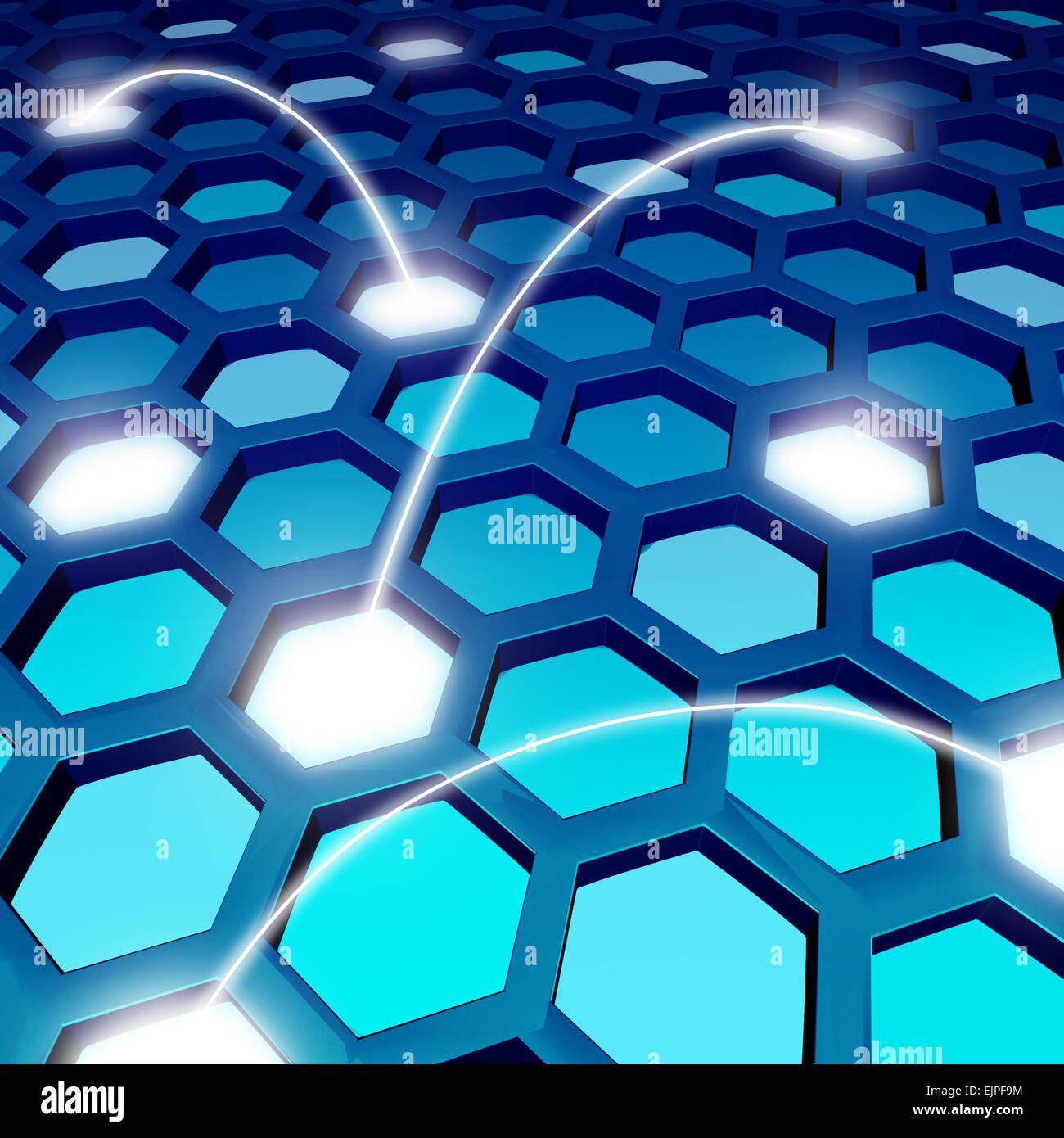 Réseau de communication toile bleu ou global technology background comme un symbole de réseau social avec Photo Stock