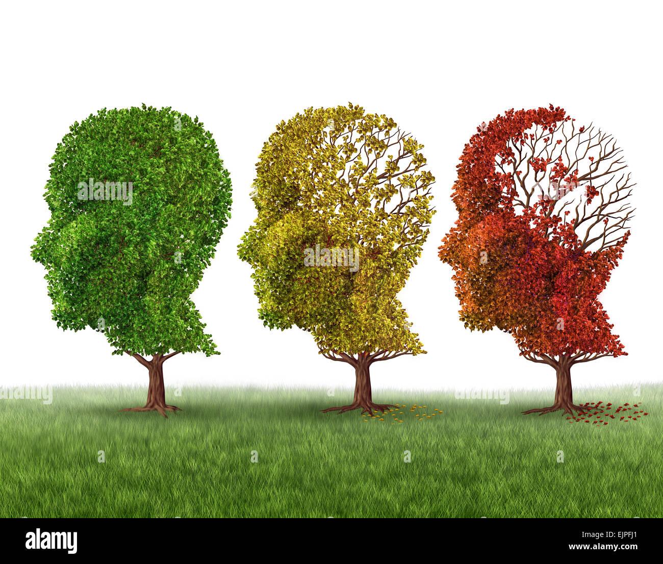 La perte de mémoire et le vieillissement du cerveau en raison de la démence et la maladie d'alzheimer Photo Stock