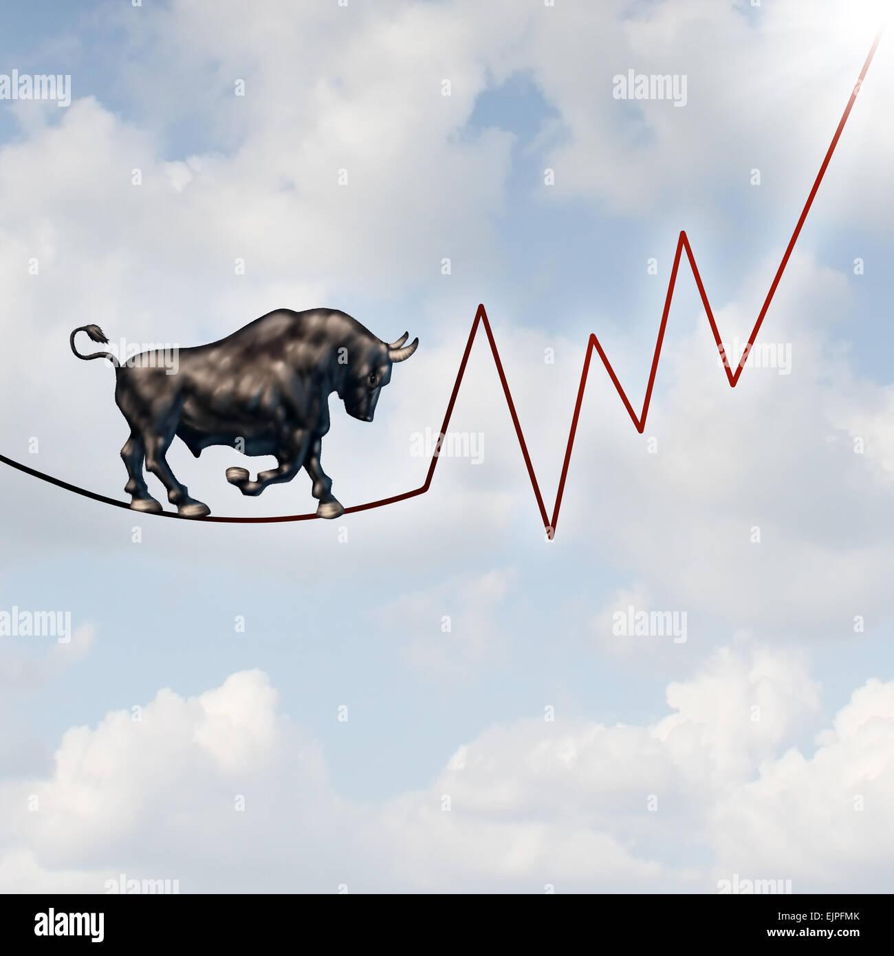 Risque de marché Bull concept financier comme une bête haussière lourde marche sur un fil en forme Photo Stock