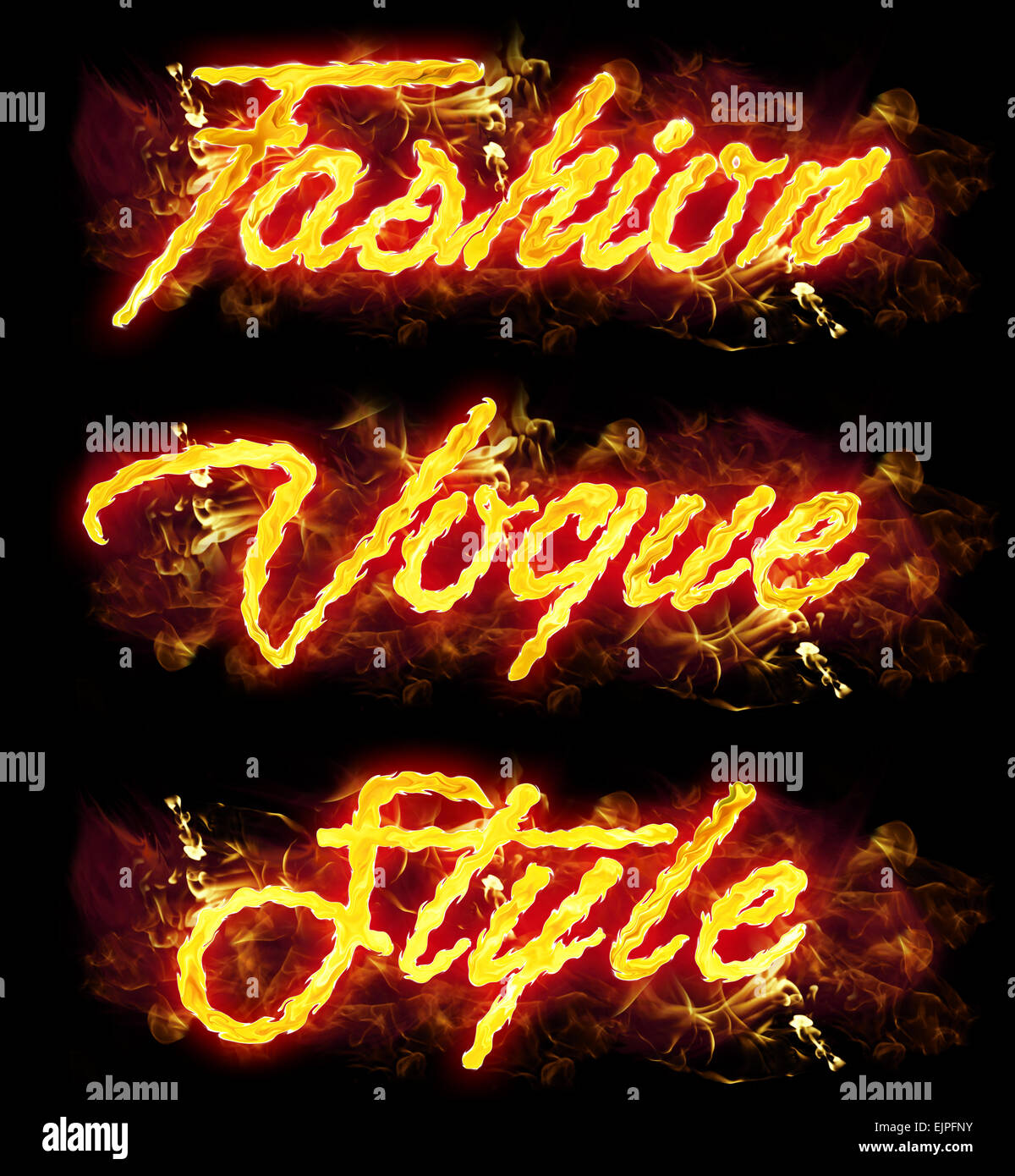 Fashion Style Vogue incendie mot badges avec flammes brûlantes. Photo Stock