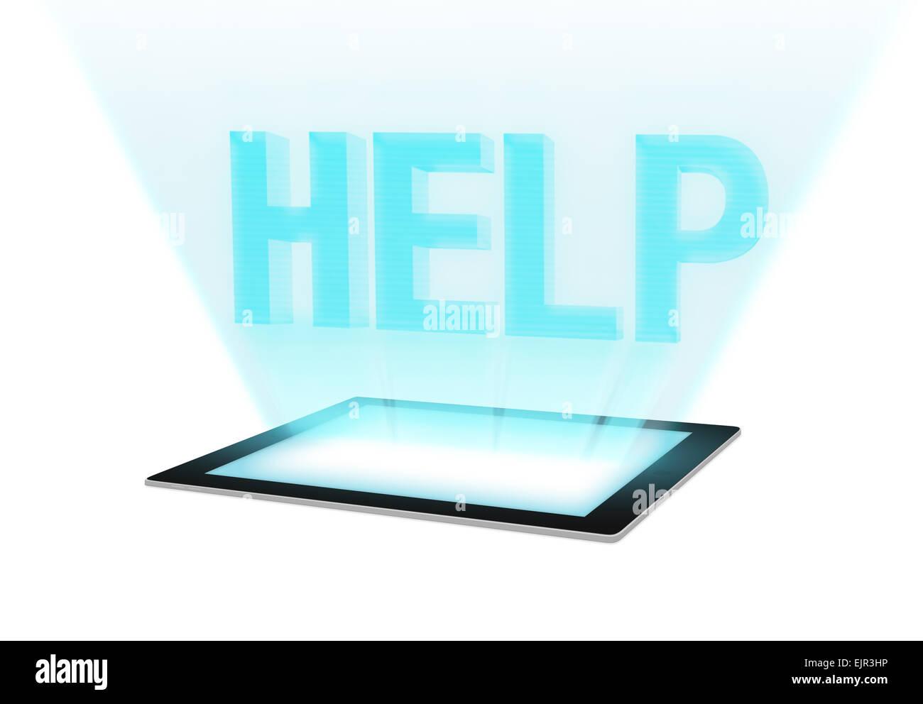 Technologie futuriste avec message d'aide sur écran tactile Tablet. Représentant support technique Photo Stock