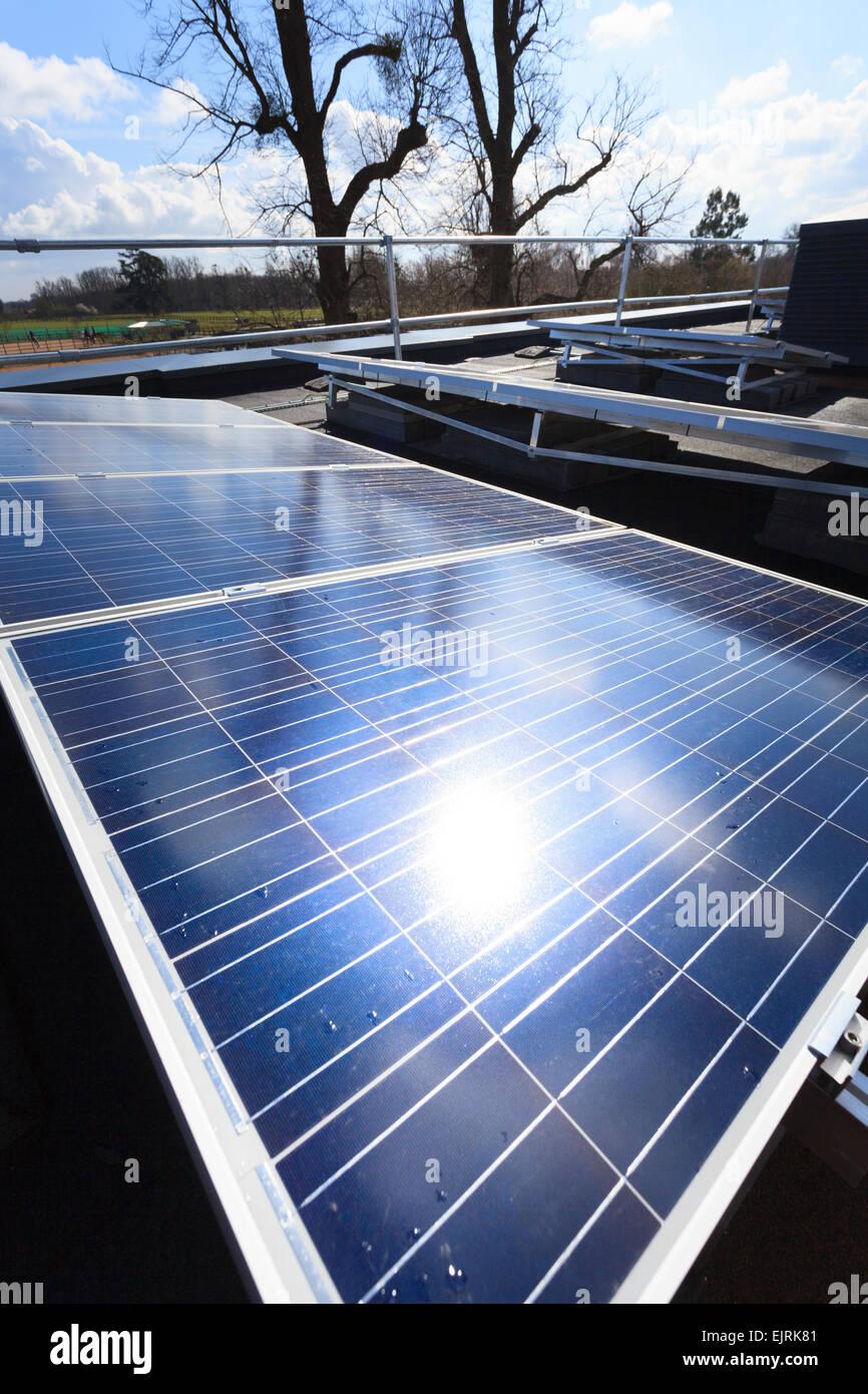Soleil qui se reflète sur des panneaux de cellules photovoltaïques Photo Stock