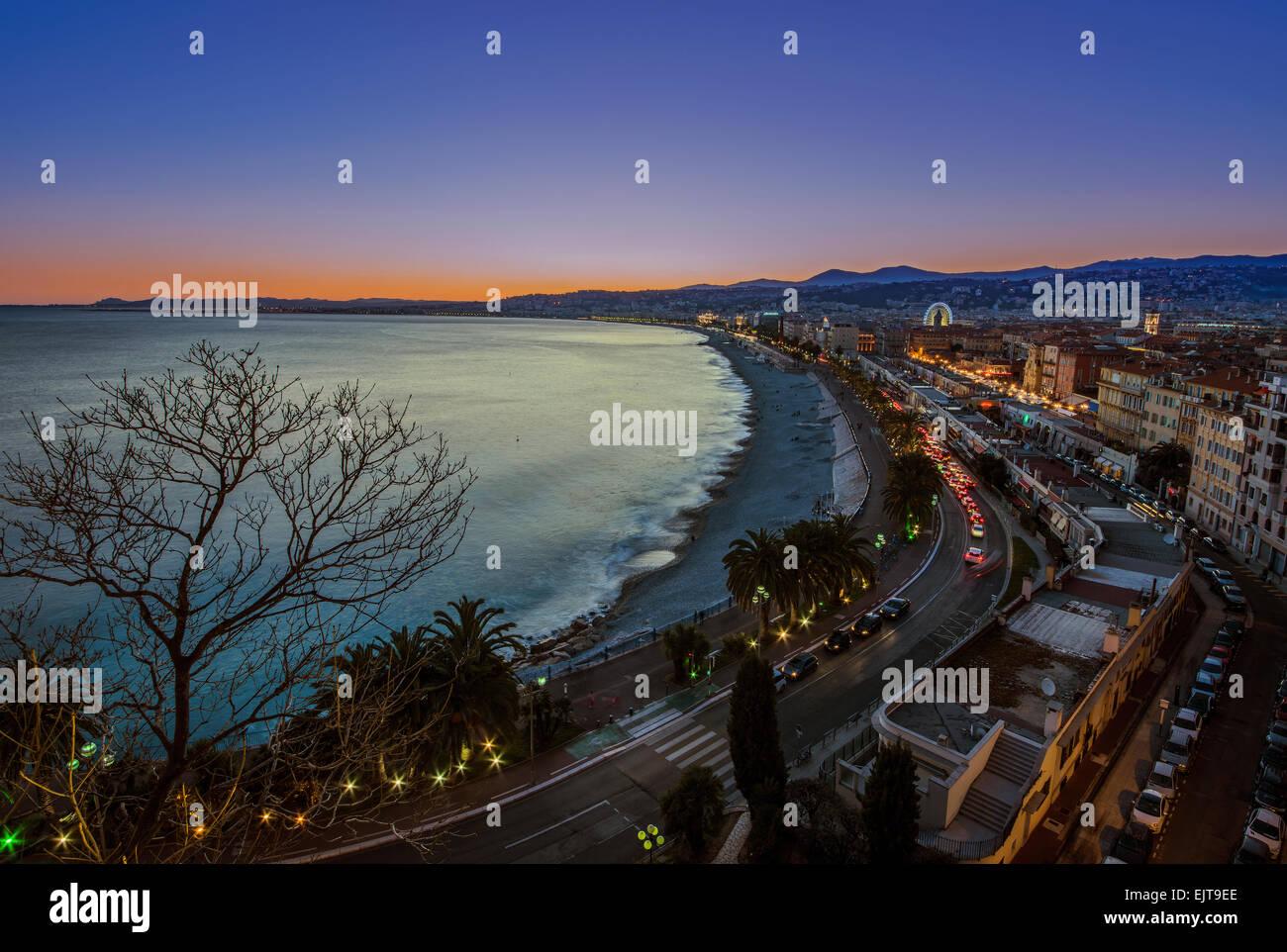 Coucher de soleil à Nice Photo Stock