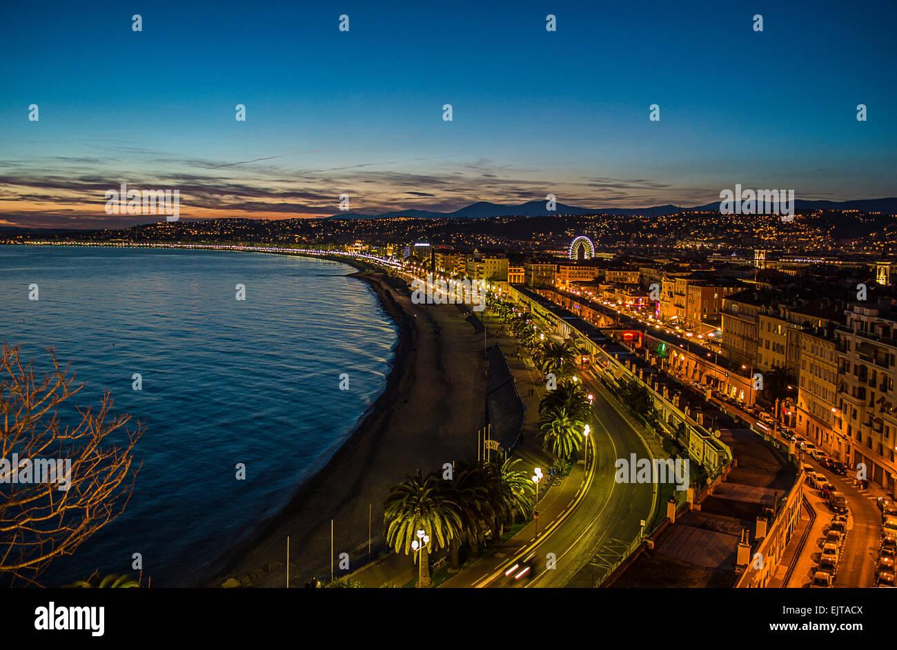 Coucher de soleil sur Nice Photo Stock