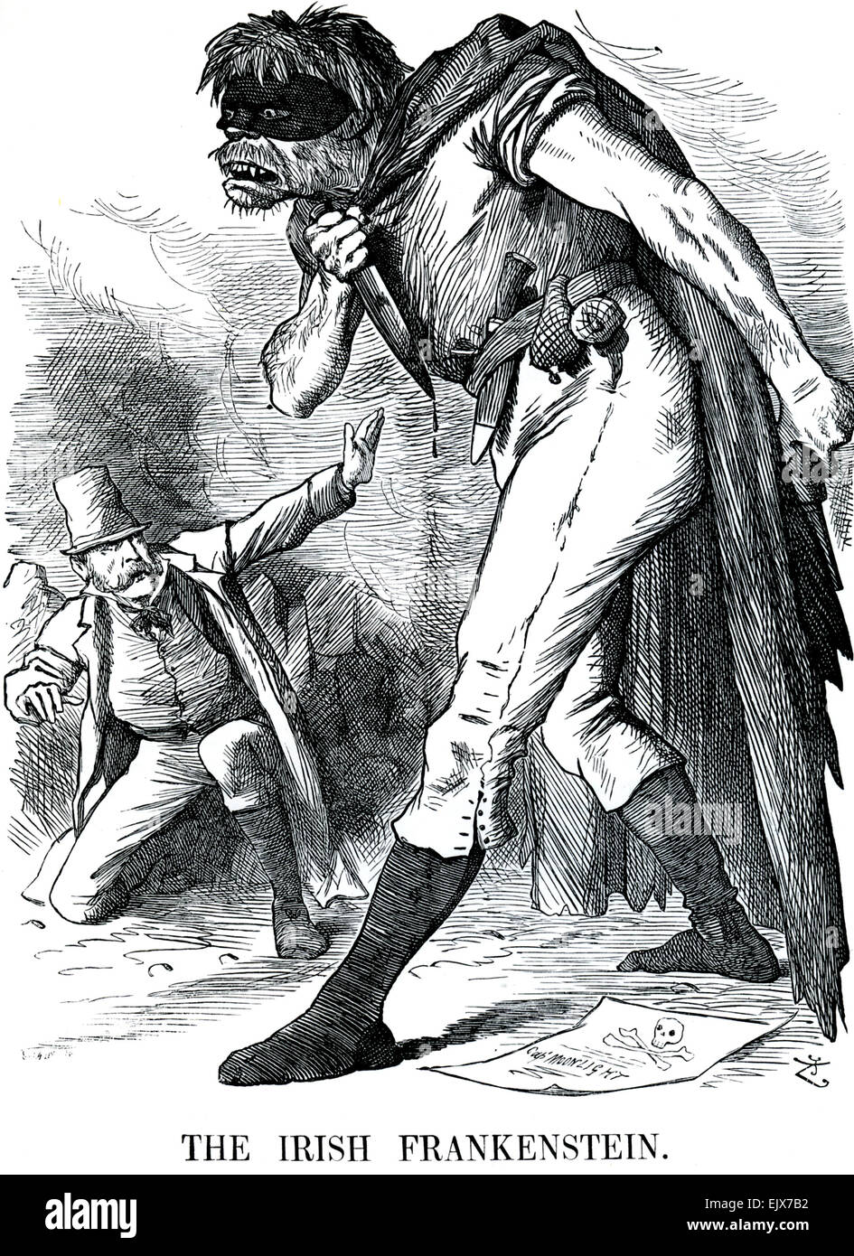 La caricature de poinçon FRANKENSTEIN irlandais John Tenniel publié 20 Mai 1882 Photo Stock