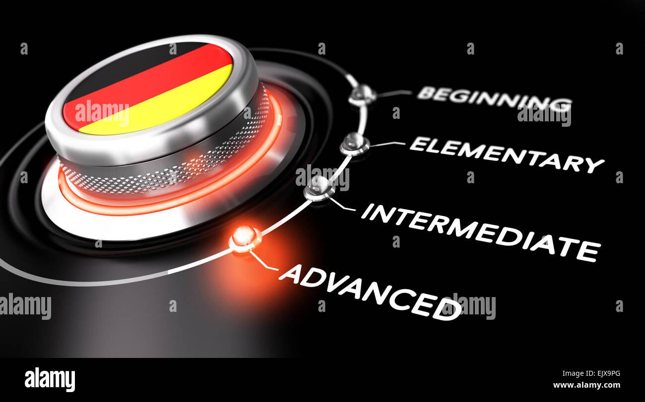 Interrupteur moderne pointant le mot avancé. Backgorund noir. Concept de cours d'allemand ou de niveau Photo Stock