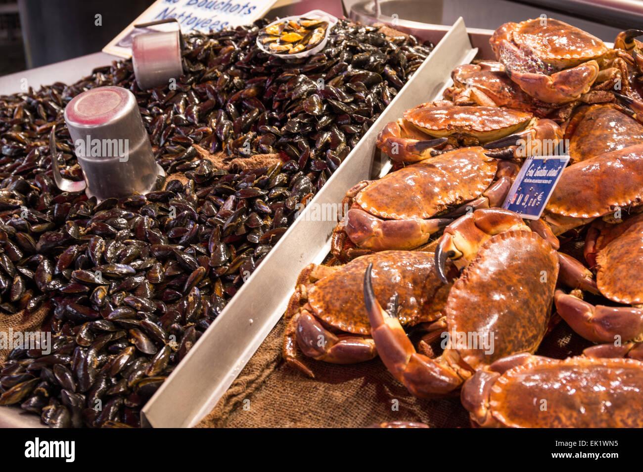 Marché de Fruits de mer décroche à Trouville sur Mer, dans le Nord de la France, Europe Photo Stock