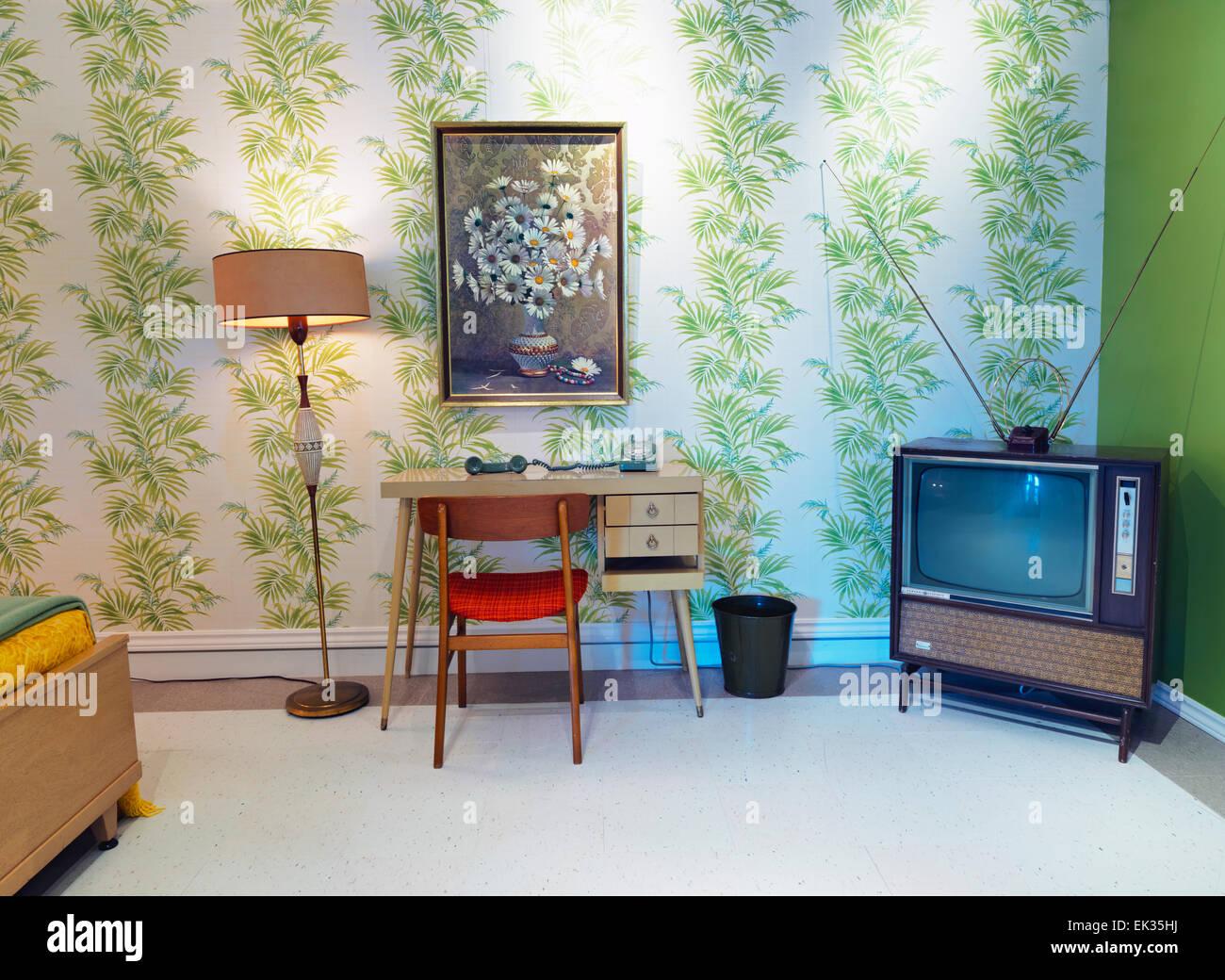 Canada, Ontario, Niagara Falls, Niagara Falls Museum, intérieur de 1960 motel afficher Photo Stock