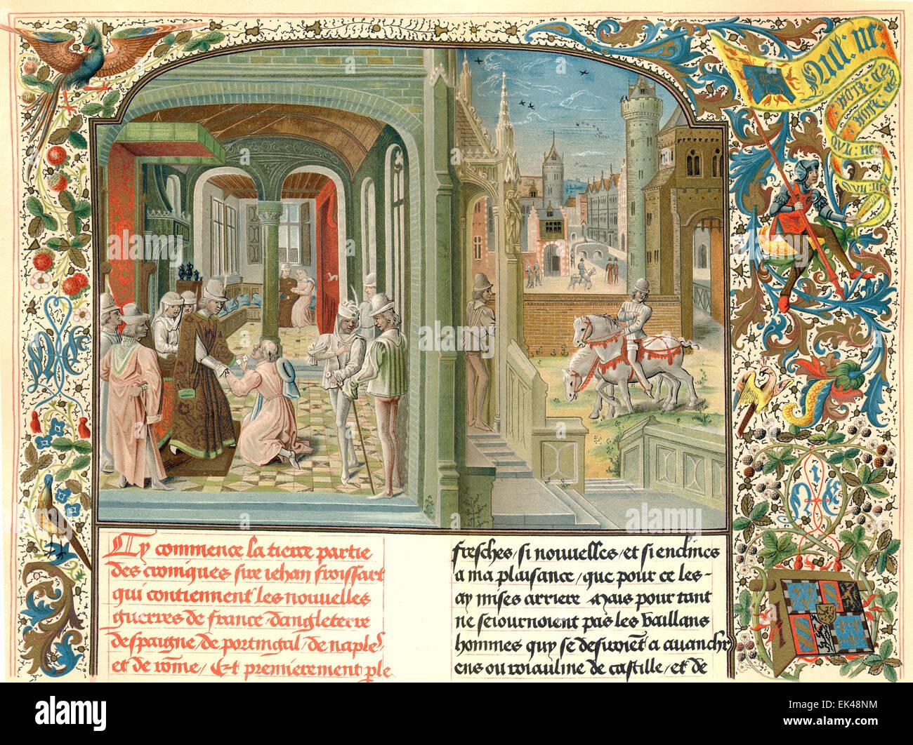 Jean Froissart est arrivée à la cour de Foix, par David Aubert, 1469, Photo Stock