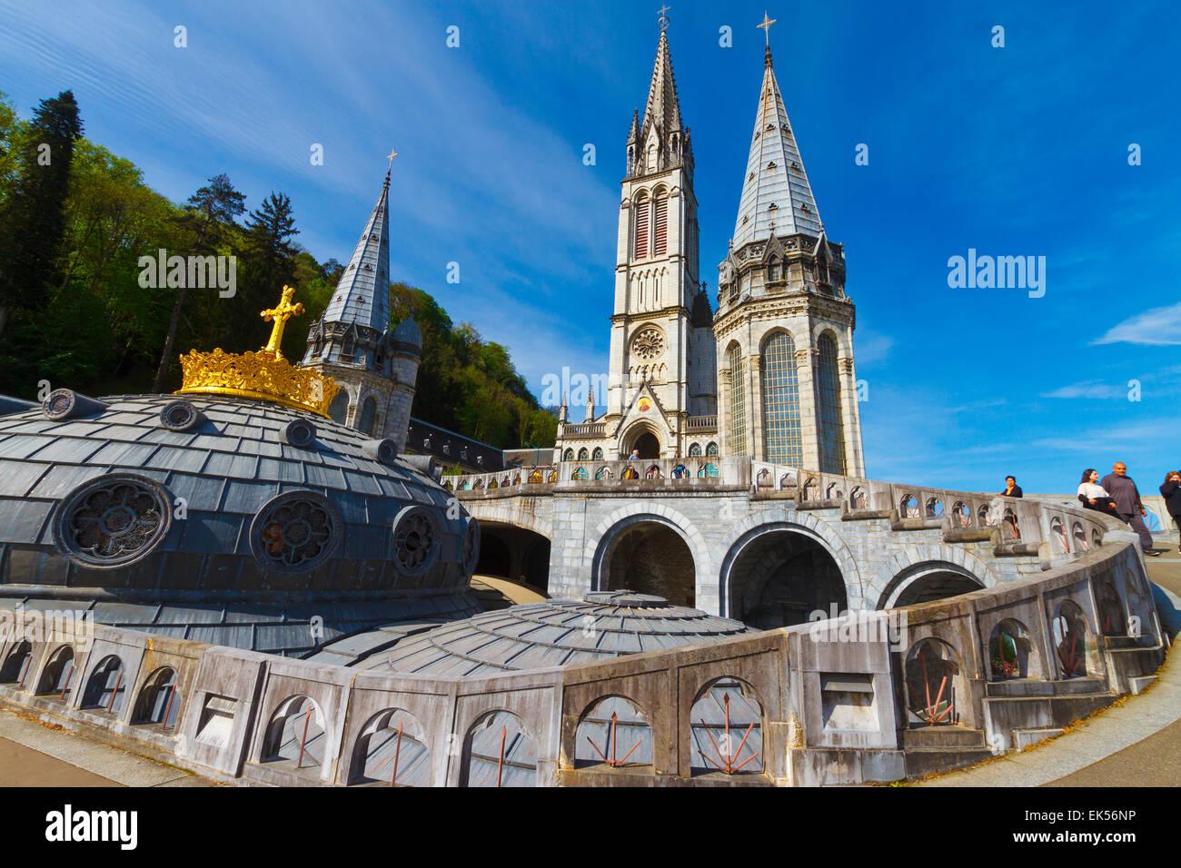 Basilique du Rosaire. La ville de Lourdes. Département des Hautes-Pyrénées, région Midi-Pyrénées, France, Europe. Banque D'Images