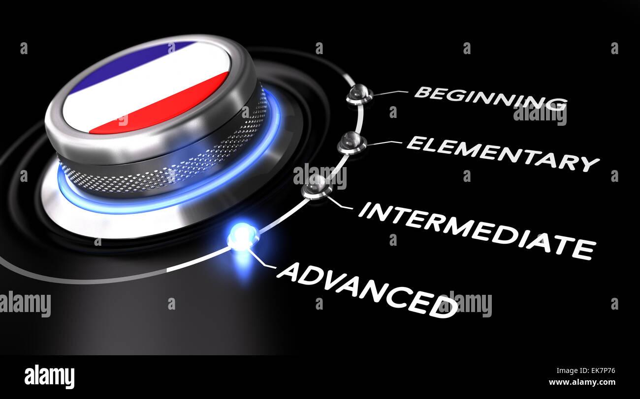 Interrupteur moderne pointant le mot avancé. Backgorund noir. Concept de cours de français ou de niveau Photo Stock