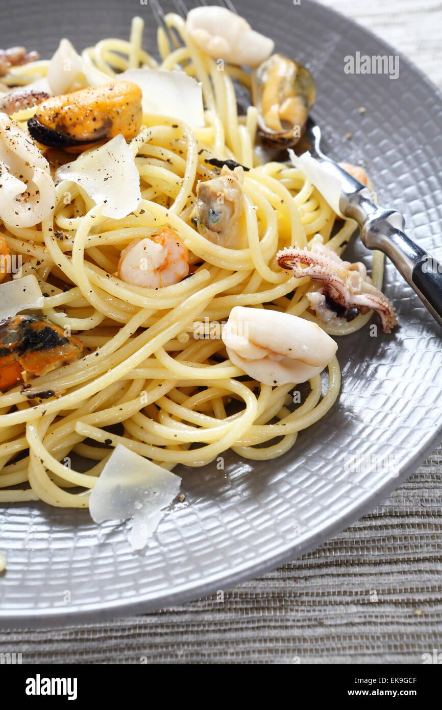 Spaghetti aux fruits de mer Close-up, de l'alimentation Photo Stock