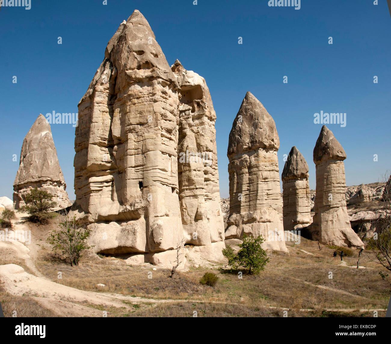 Pinacles naturel dans les cendres volcaniques, Zemi Valley, Goreme, UNESCO, Cappadoce, Anatolie, Turquie, Asie mineure, Photo Stock