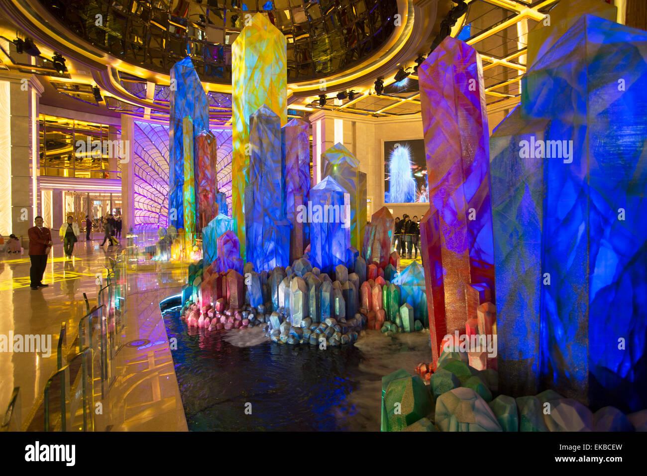 Hall de l'hôtel Galaxy en cristal, Taipa, Macao, Chine, Asie Photo Stock