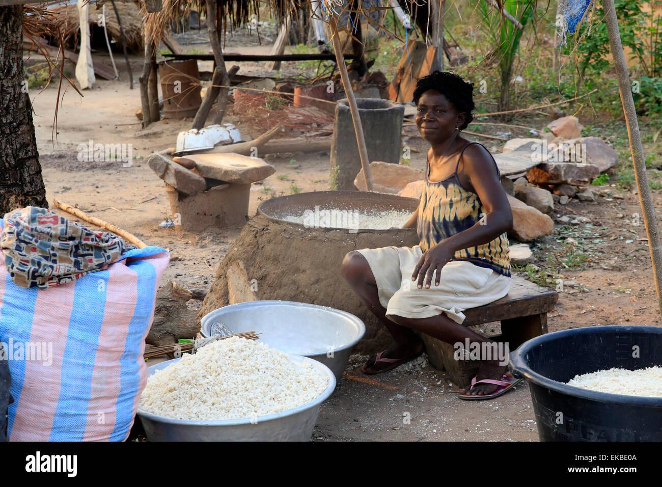 Le séchage du manioc dans le village africain de datcha, Togo, Afrique de l'Ouest, l'Afrique Photo Stock