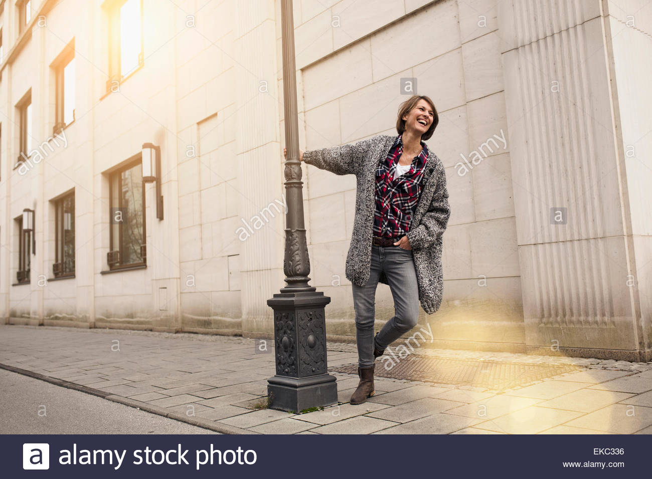 Woman enjoying city street Photo Stock