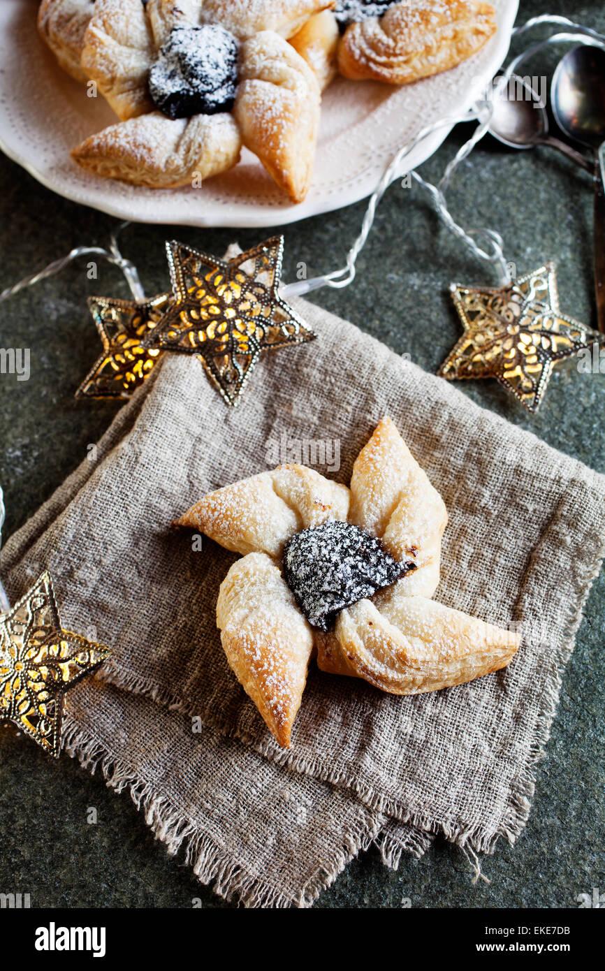 Joulutorttu, pâtisserie de Noël traditionnel finlandais Photo Stock