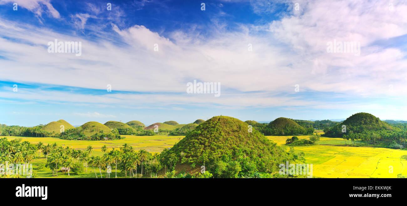 Vue sur les collines de chocolat. Bohol, Philippines Photo Stock