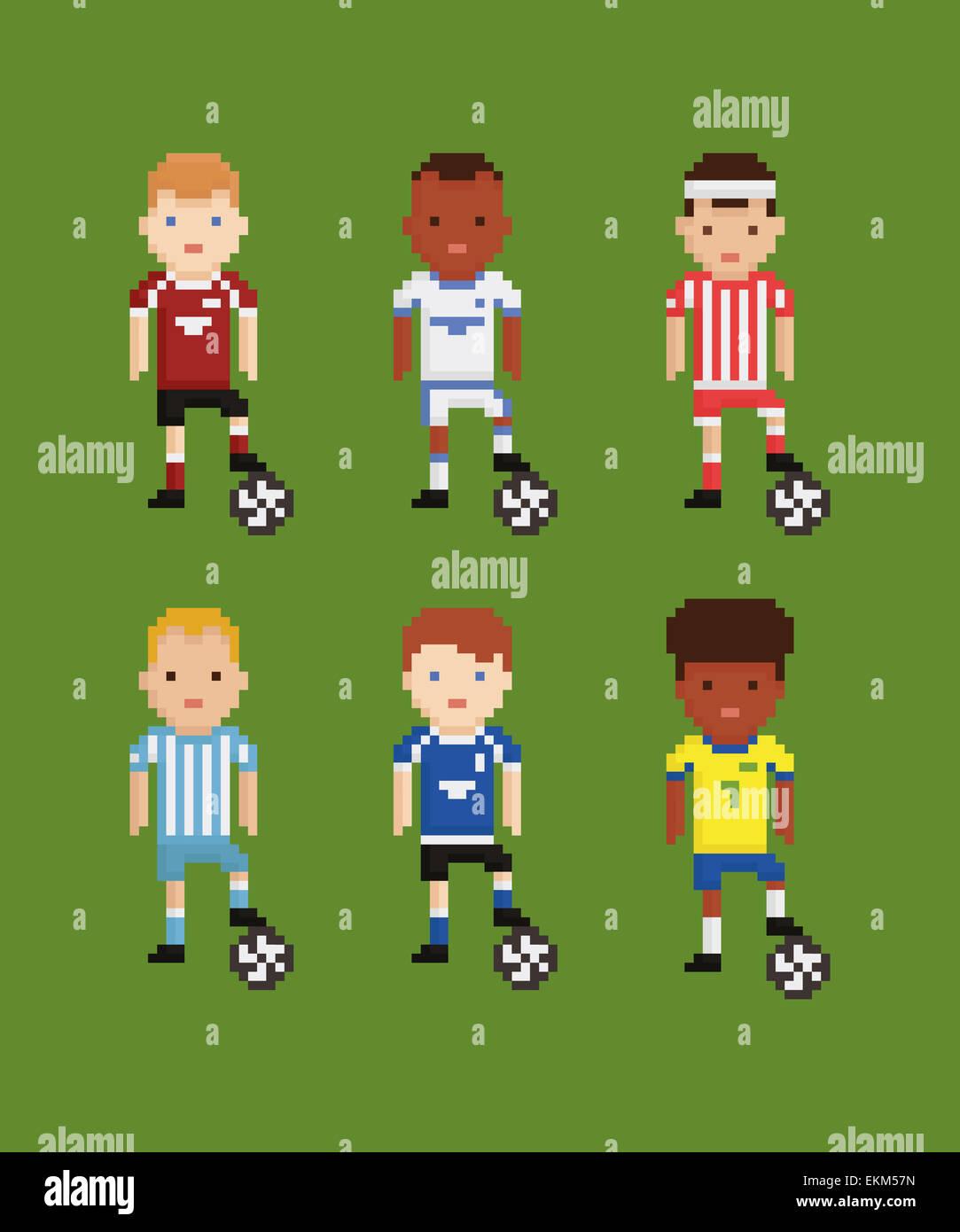 Pixel Art Style Vector Set Football Joueurs De Football De