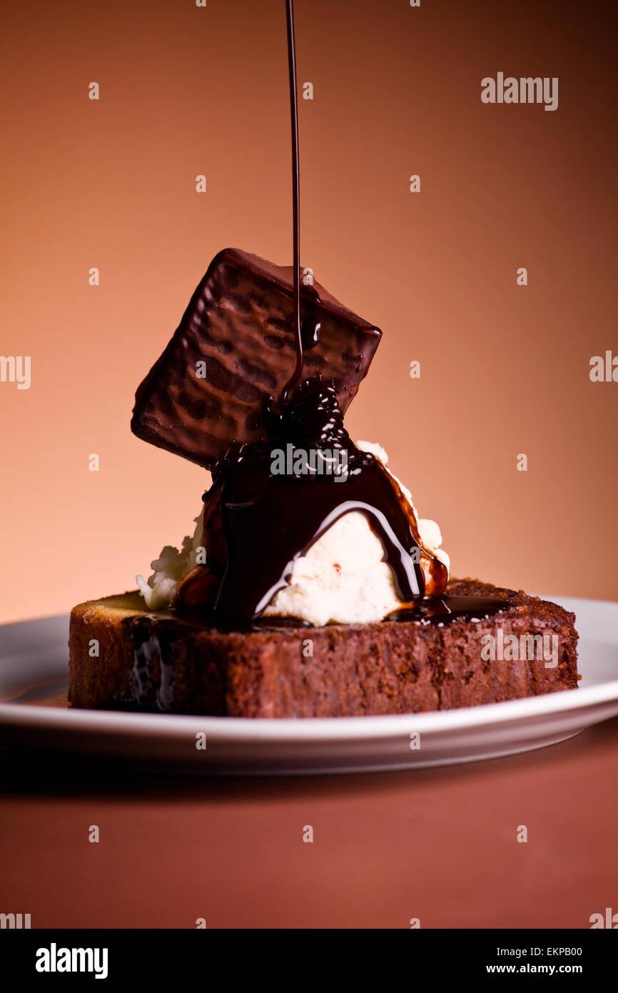Close up photo d'un dessert de crème glacée Photo Stock