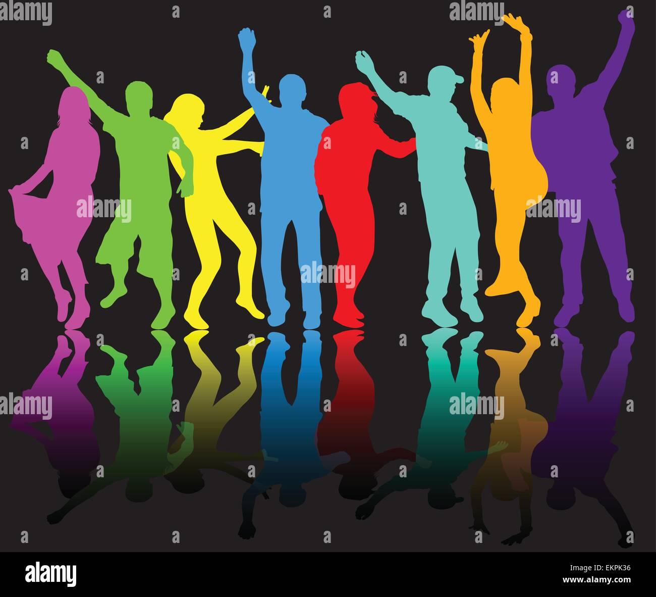 Silhouettes de personnes dansant Illustration de Vecteur
