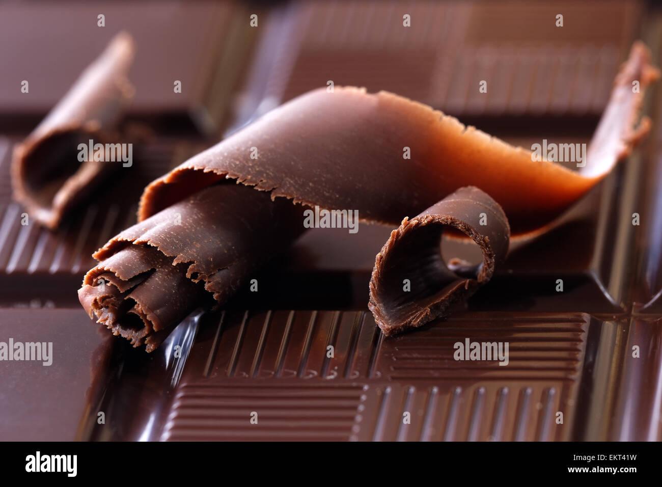 Copeaux de chocolat noir Photo Stock