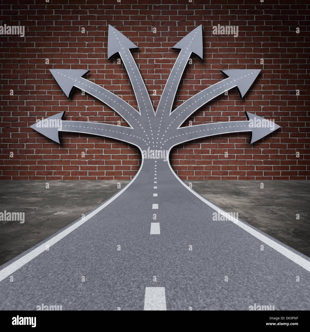 Solution d'obstacle comme un concept d'affaires direction road face à un mur de briques se transforment Photo Stock