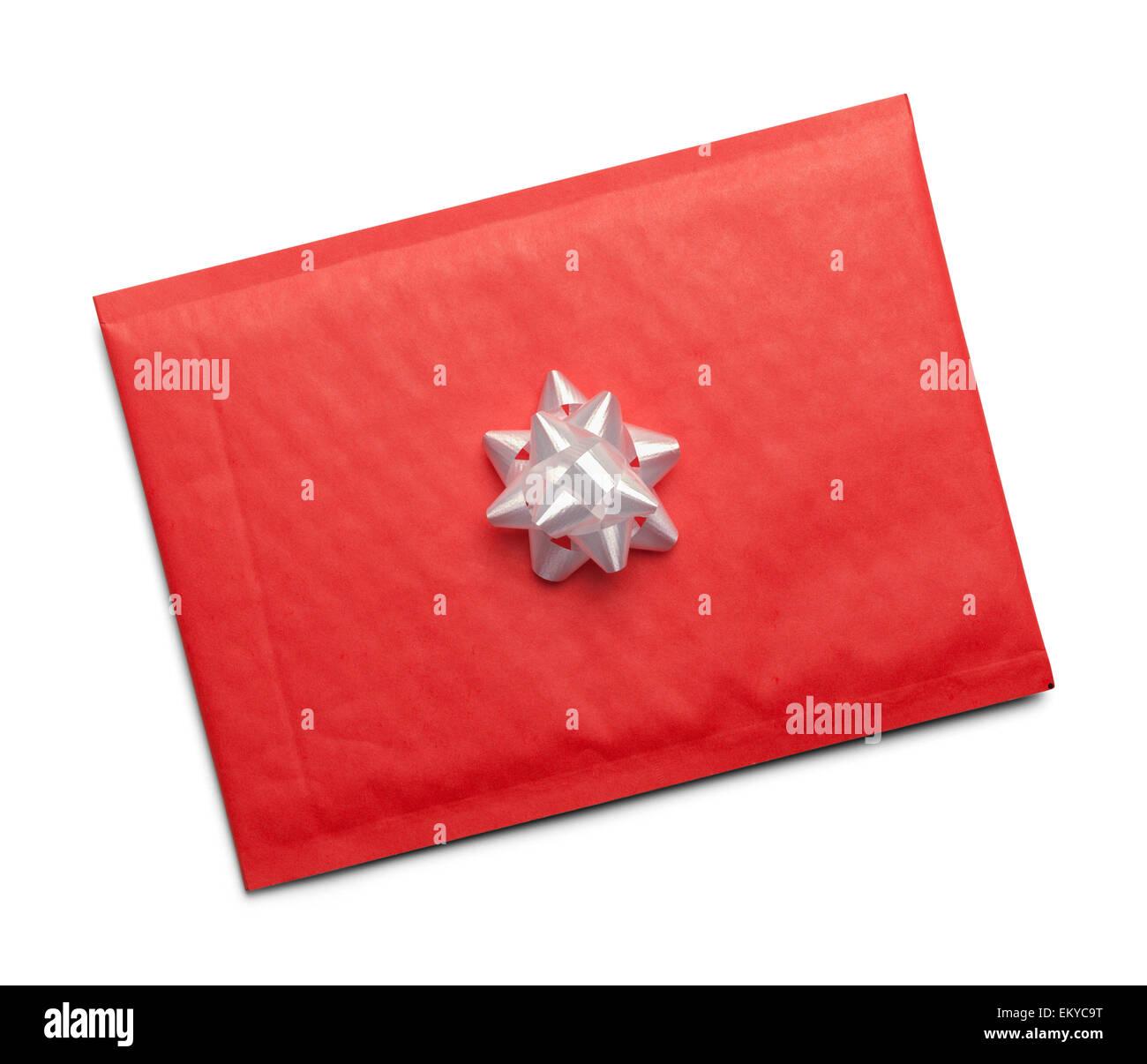 Lettre de Noël avec arc blanc isolé sur fond blanc. Photo Stock