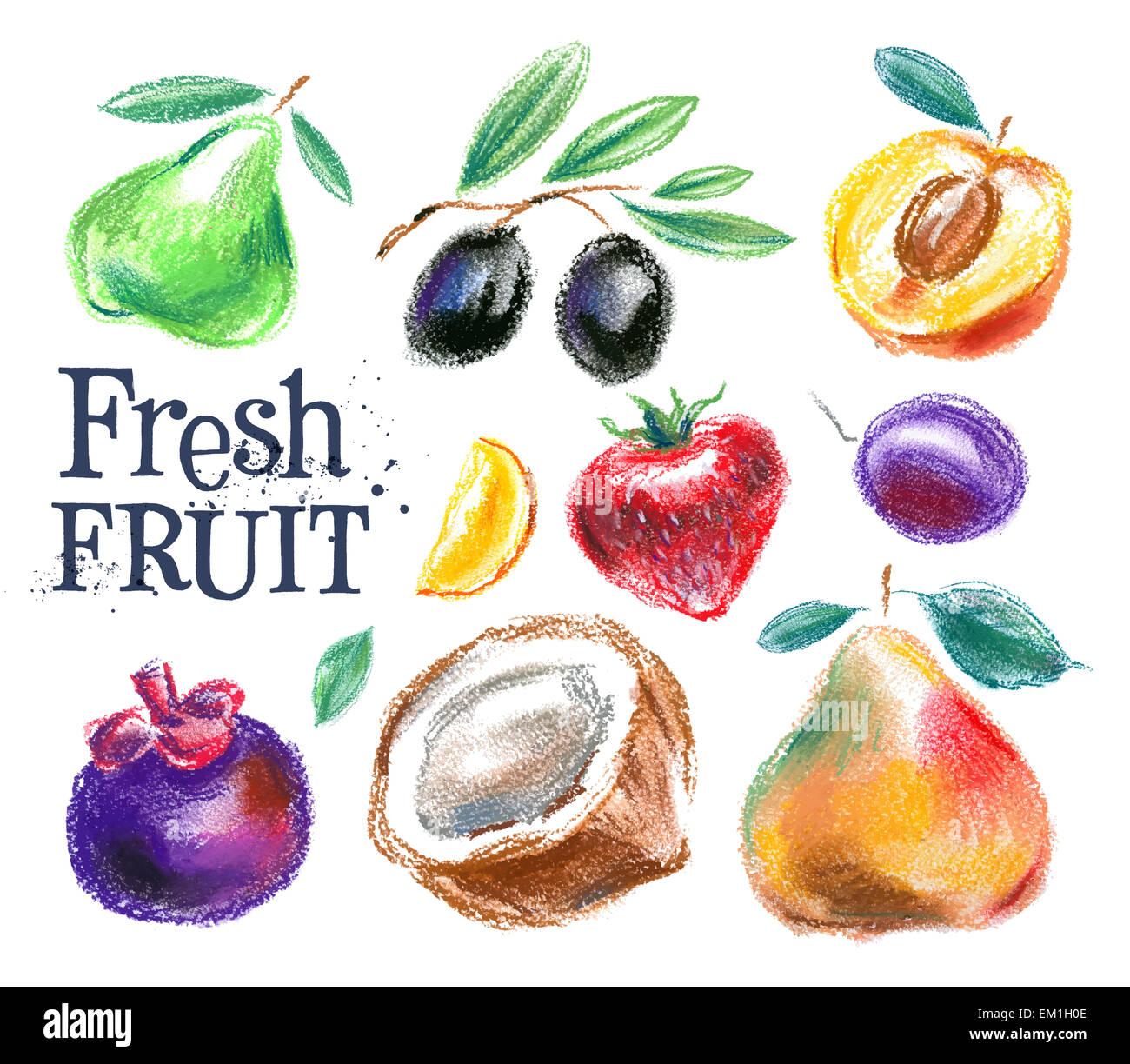 Fruit logo vector modèle. la nourriture ou l'icône de la récolte. Photo Stock