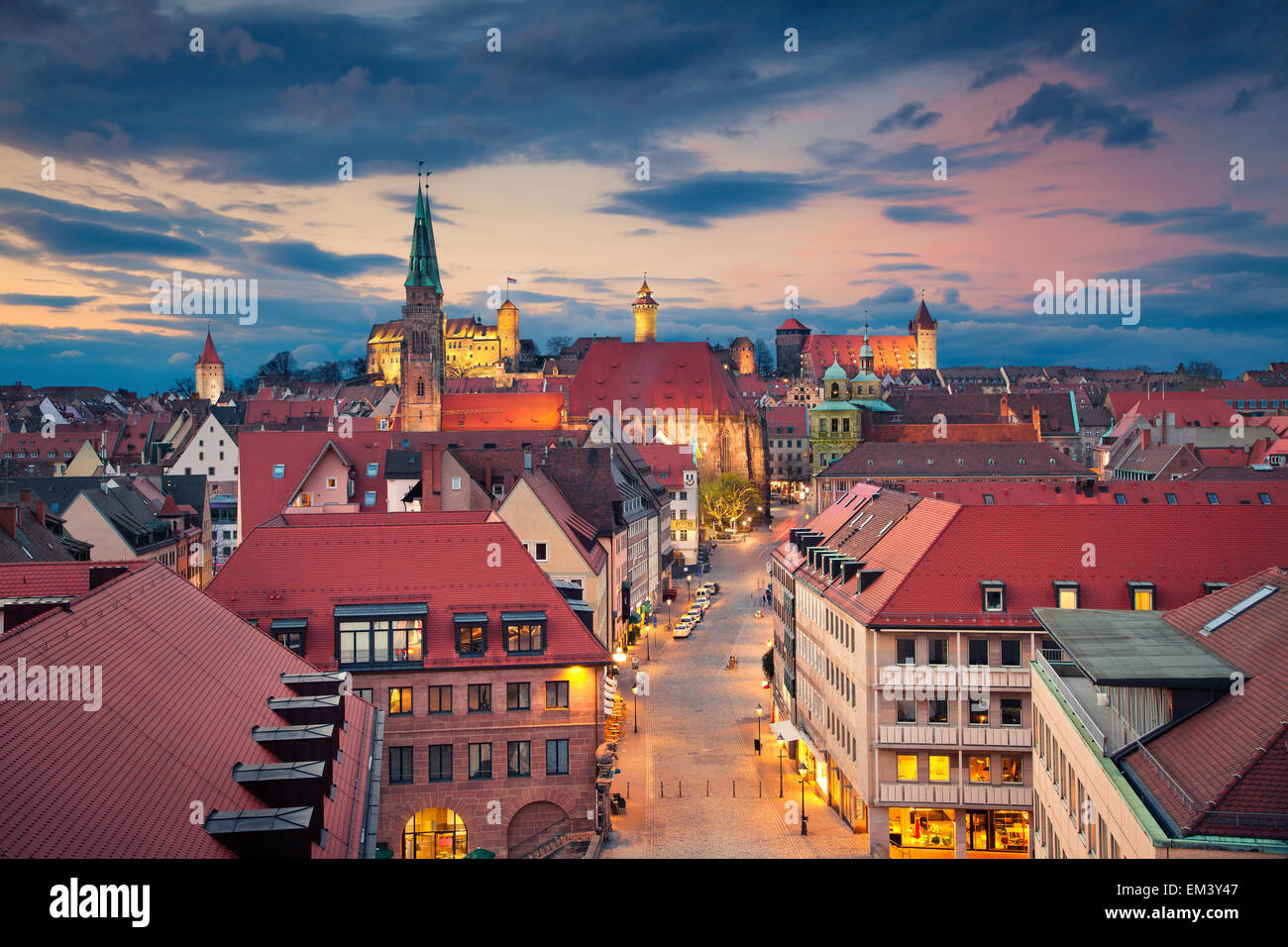 Nuremberg. Image de centre-ville historique de Nuremberg, Allemagne au coucher du soleil. Photo Stock