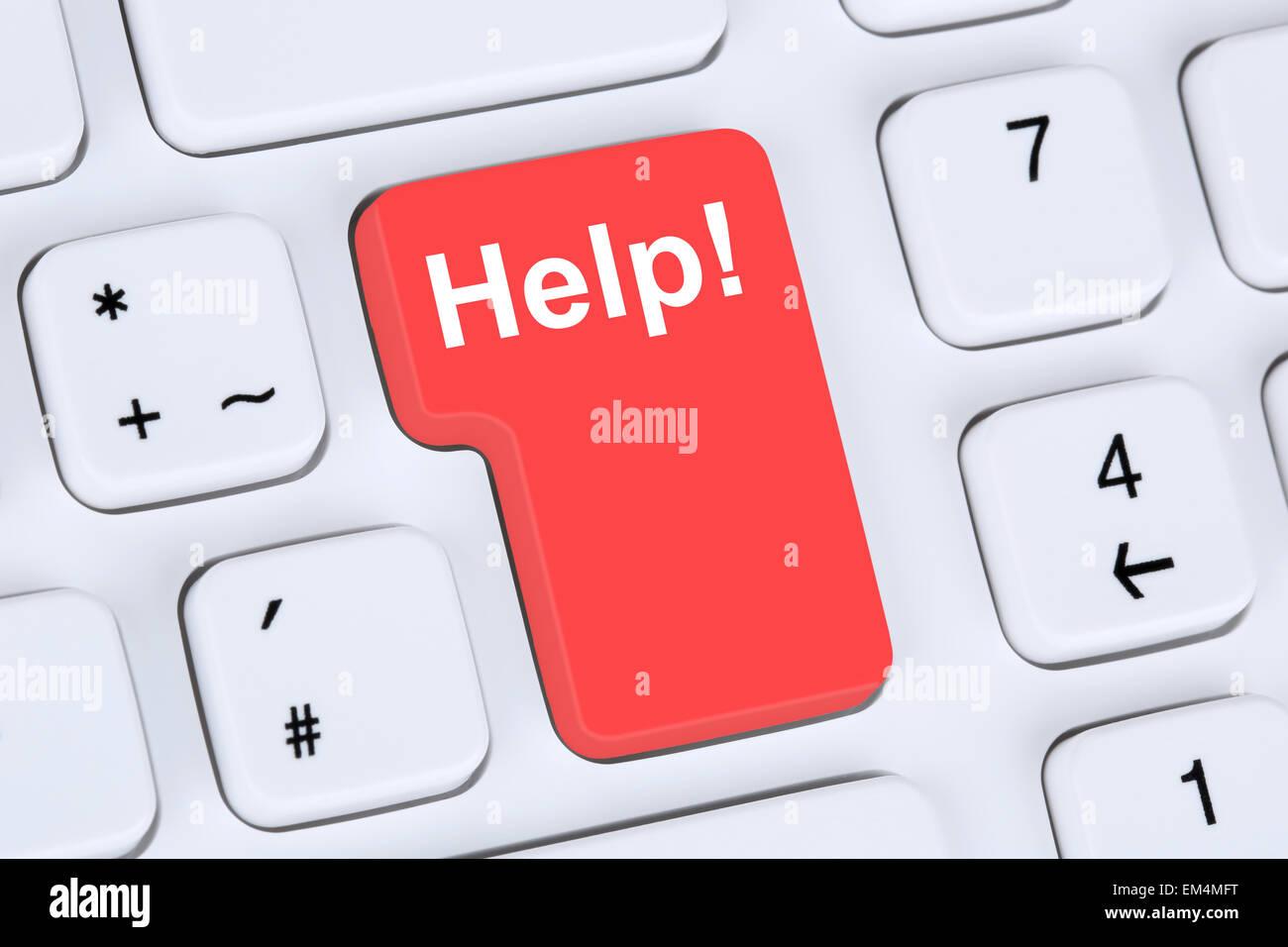 Bouton d'aide pour le problème et sa solution internet avec ordinateur en ligne Photo Stock