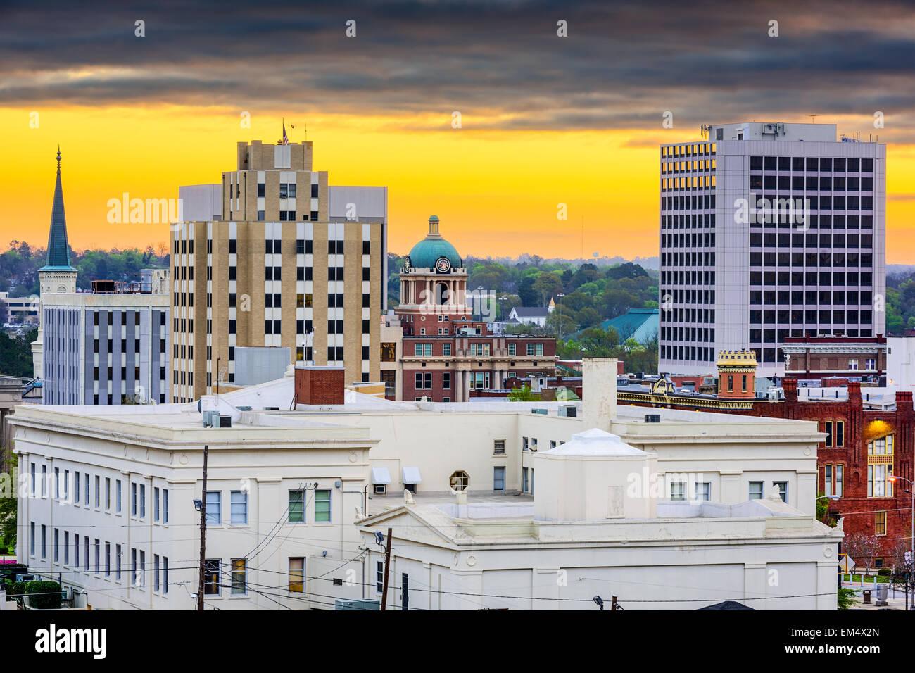 Macon, Géorgie, USA Centre-ville paysage urbain à l'aube. Photo Stock
