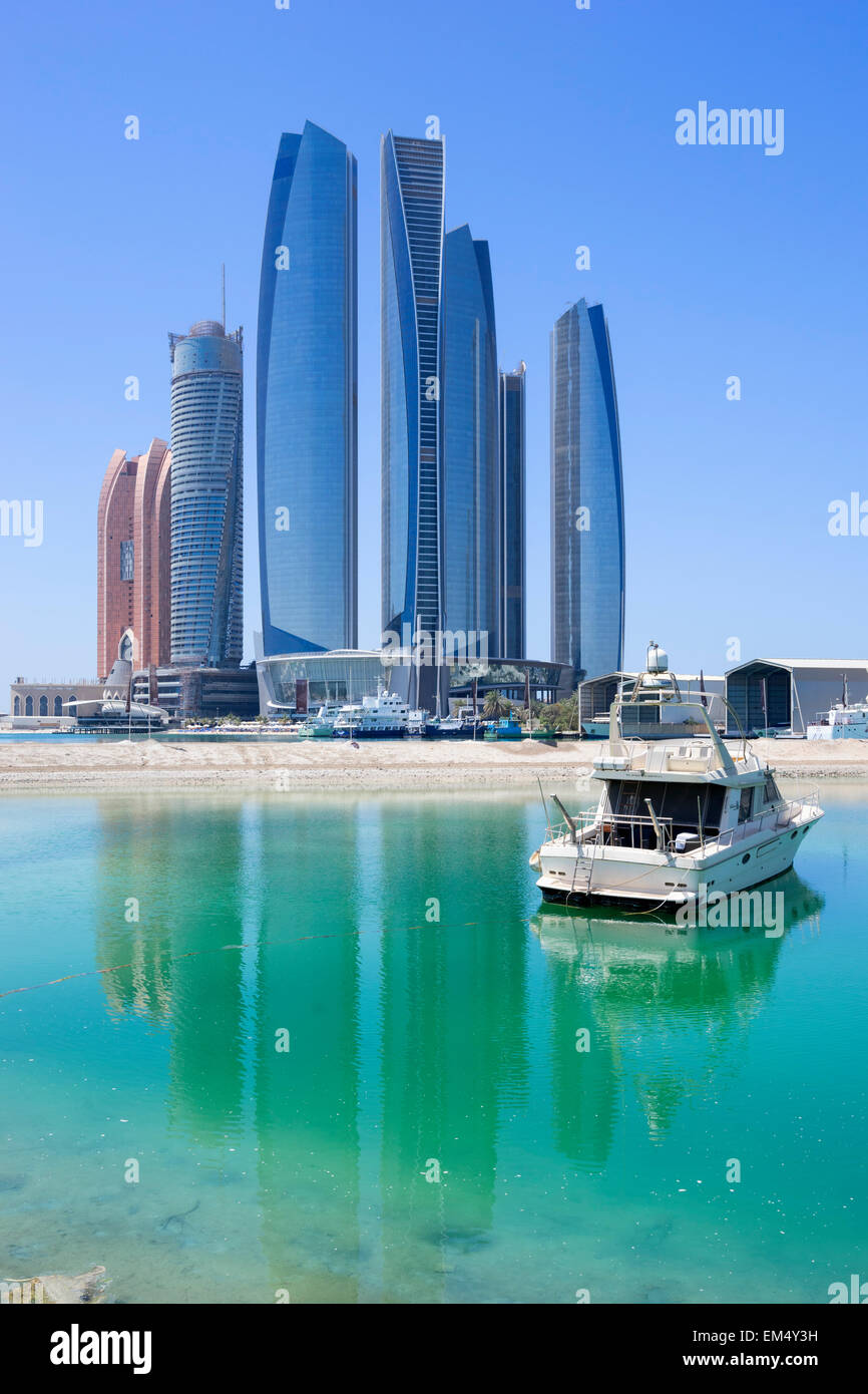 Etihad towers à Abu Dhabi Emirats Arabes Unis Photo Stock