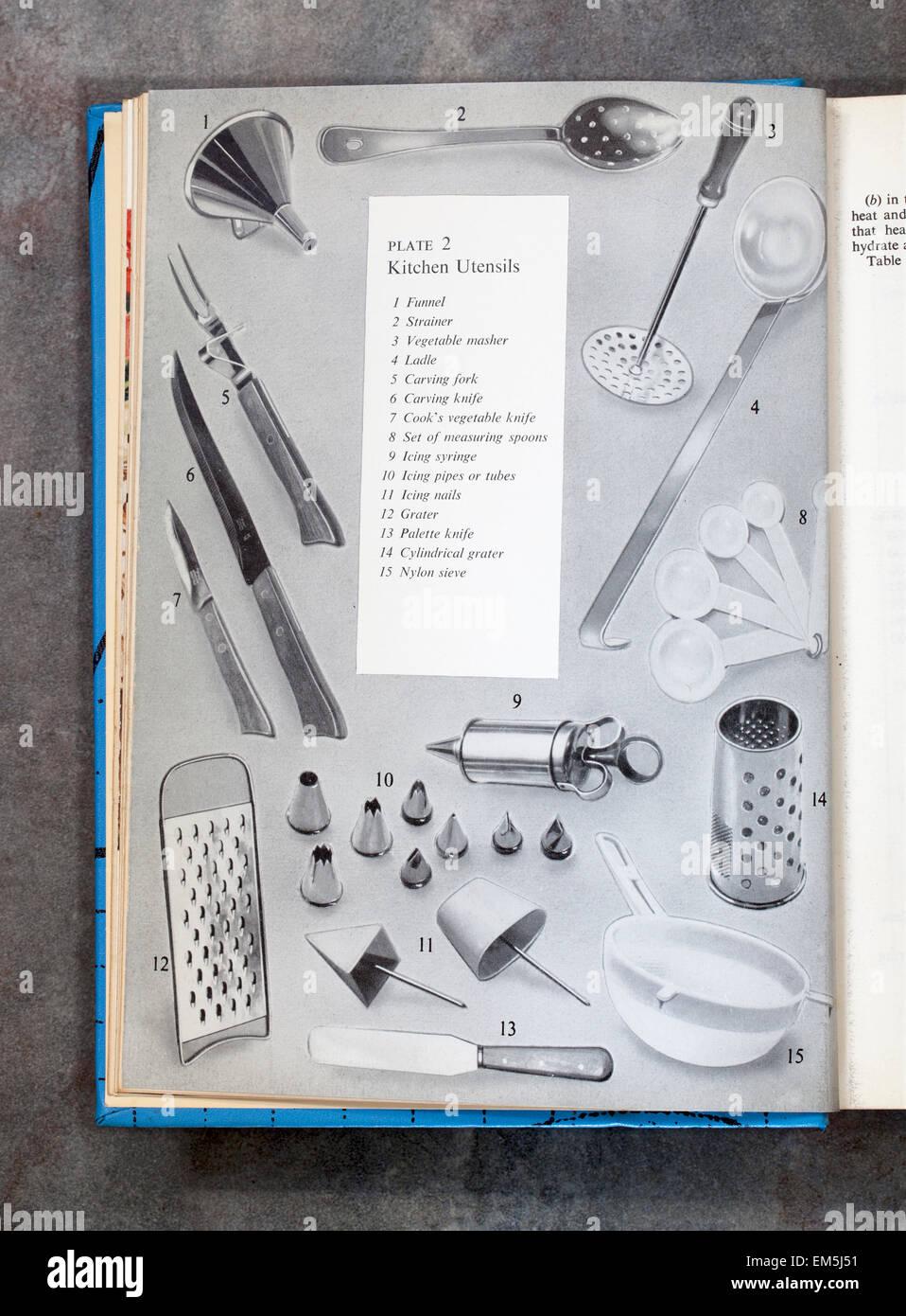Des ustensiles de cuisine Page de chapitre de livre de cuisine de tous les jours Mme Beetons Photo Stock