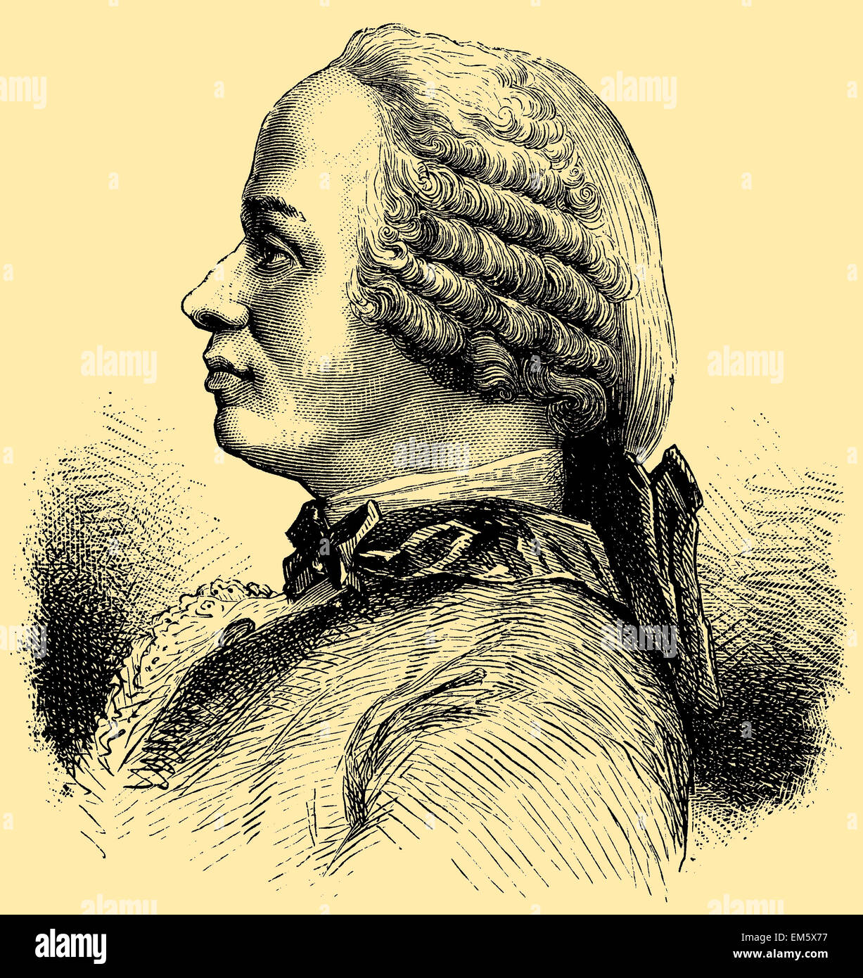 Jean Le Rond d'Alembert (16 novembre 1717 - 29 octobre 1783), mathématicien français, scientifique Photo Stock