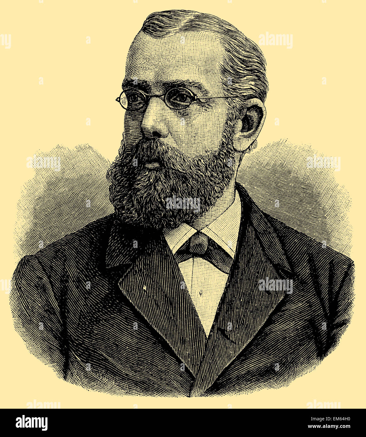Robert Koch, médecin allemand, découvreur des bacilles de tubercule et le choléra, lauréat du Prix Nobel de médecine en 1905 Banque D'Images
