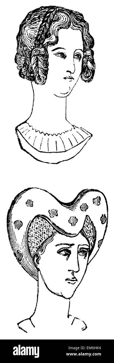 Les coiffures du 16ème siècle Banque D'Images