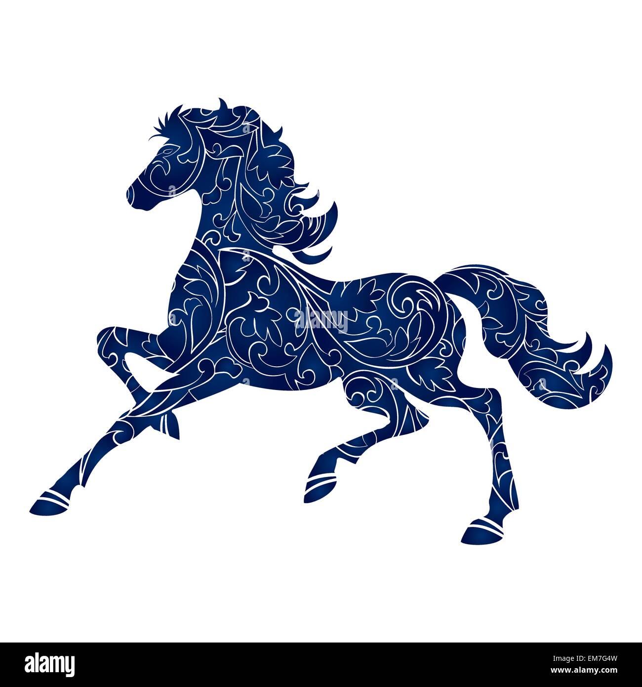 Symbole de l'année 2014, l'icône bleu isolé, silhouette vecteur Photo Stock