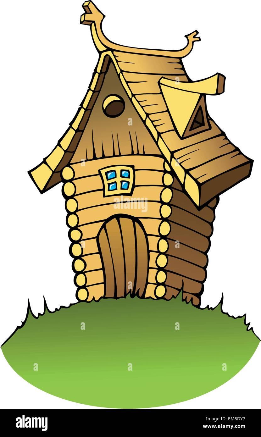Maison en bois dessin animé