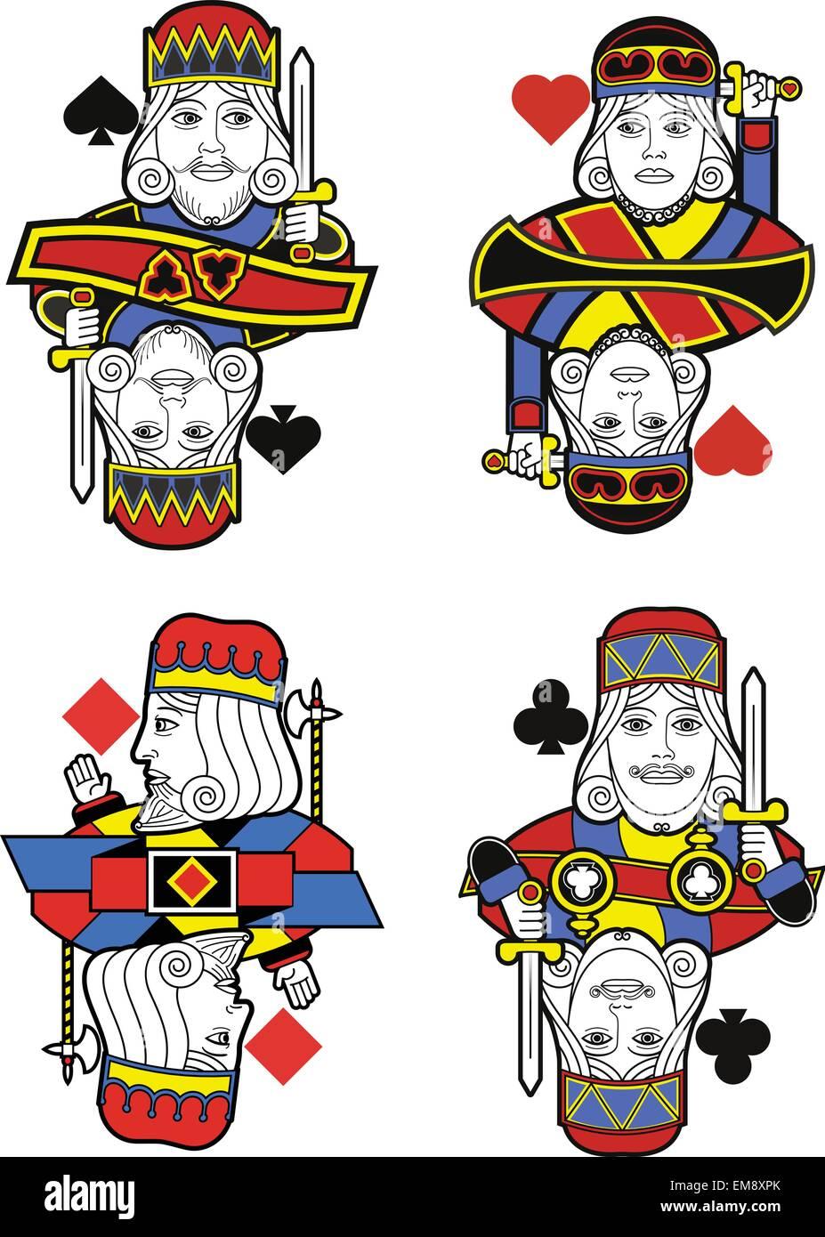 Quatre rois sans cartes. Design original Photo Stock