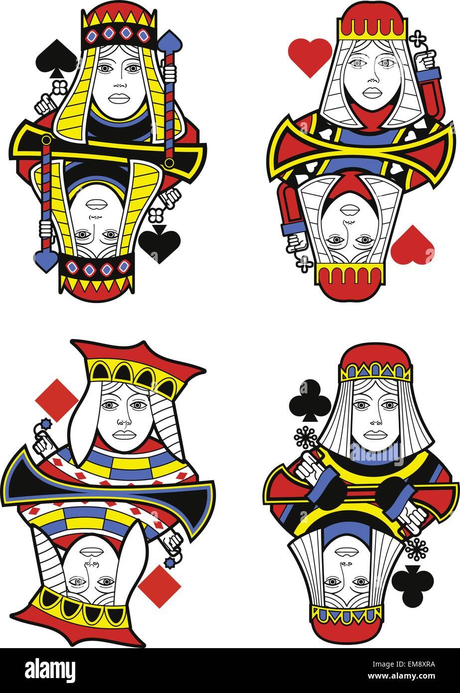 Quatre reines sans cartes. Design original Photo Stock