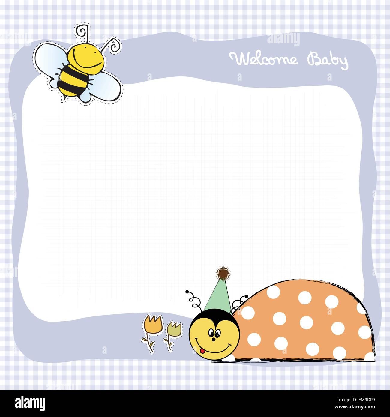 Joyeux Anniversaire Carte Avec Coccinelle Image Vectorielle Stock Alamy