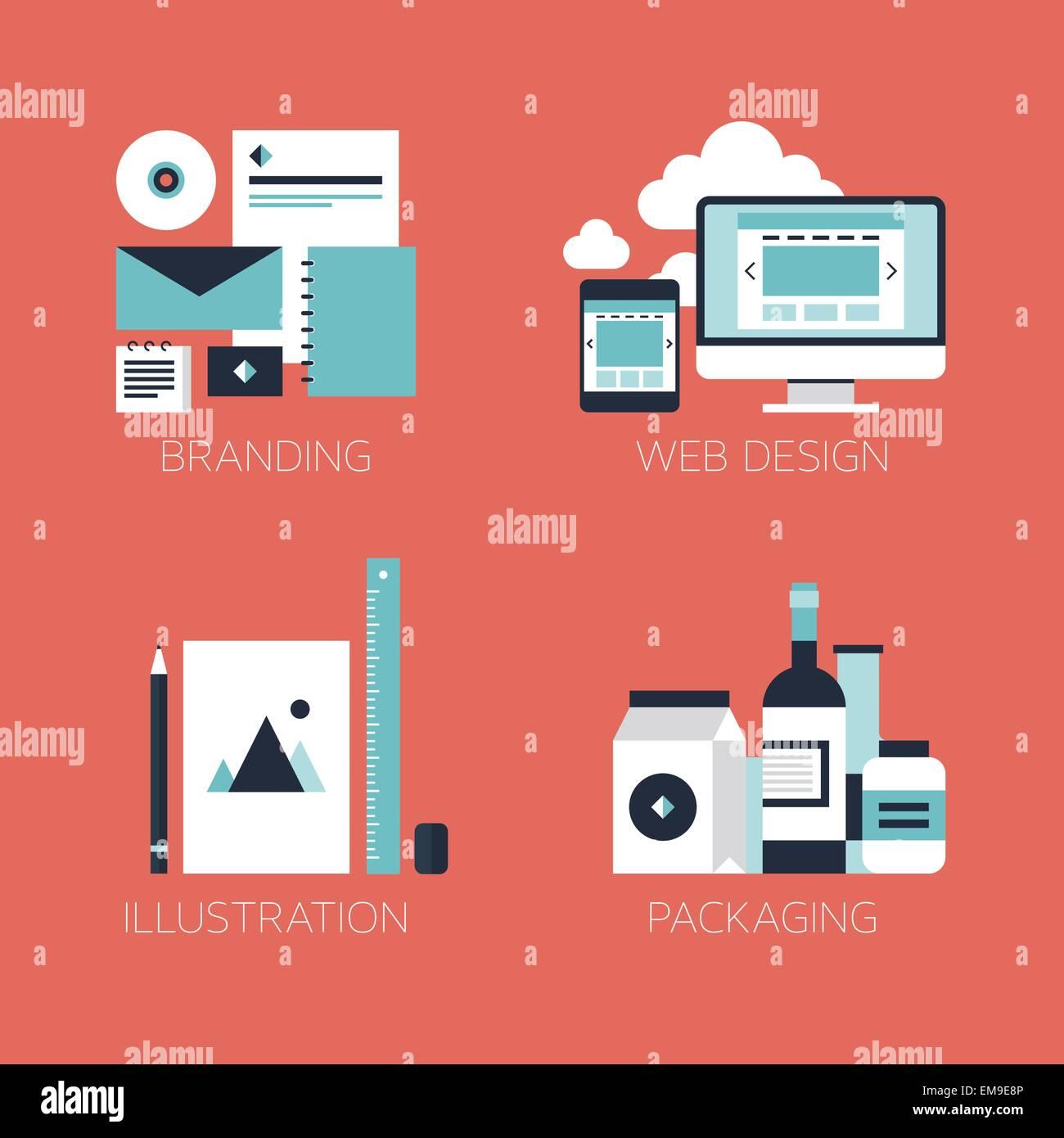 Les icônes de style design plat Photo Stock
