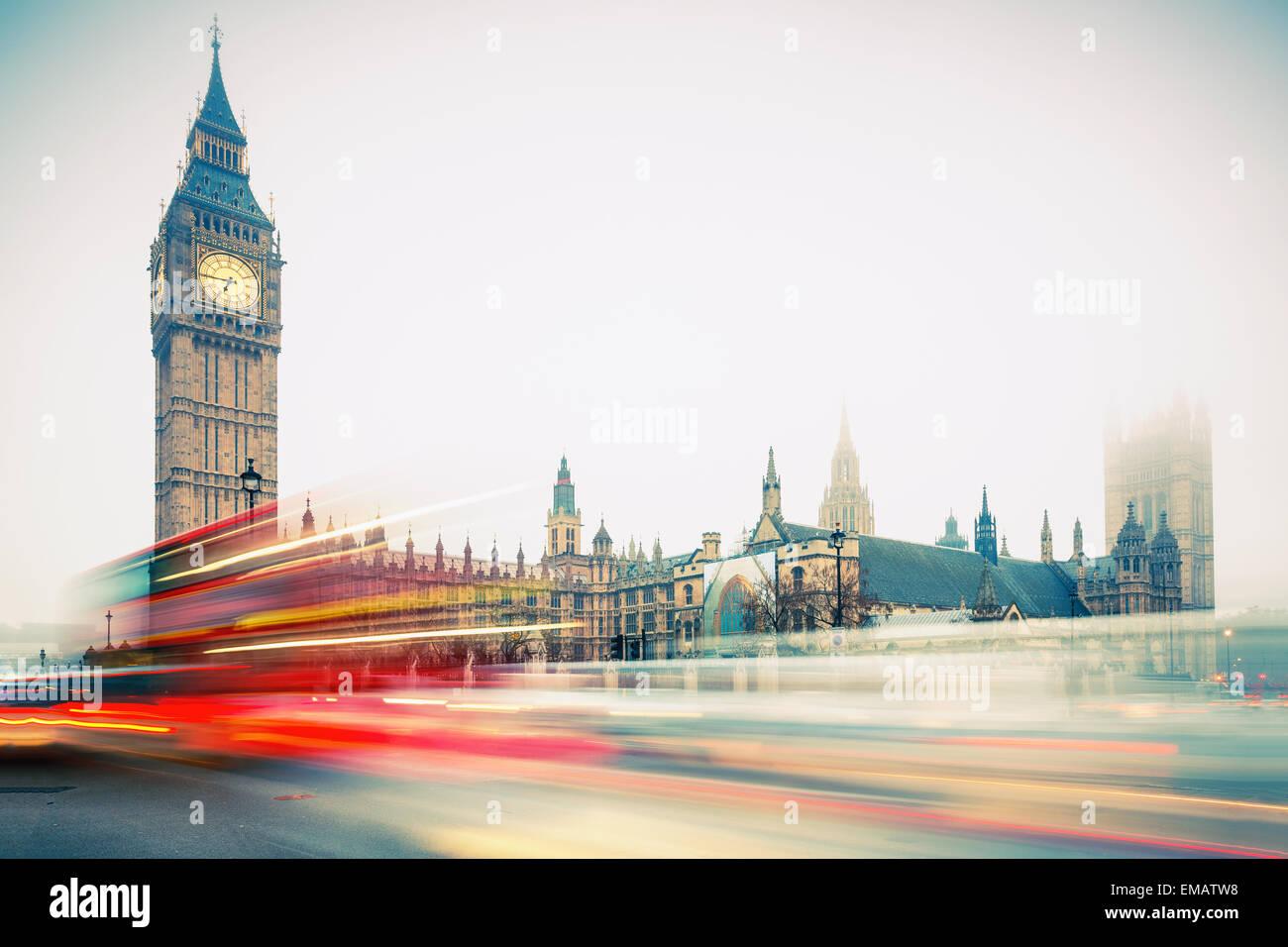 Big Ben et bus à impériale, Londres Photo Stock