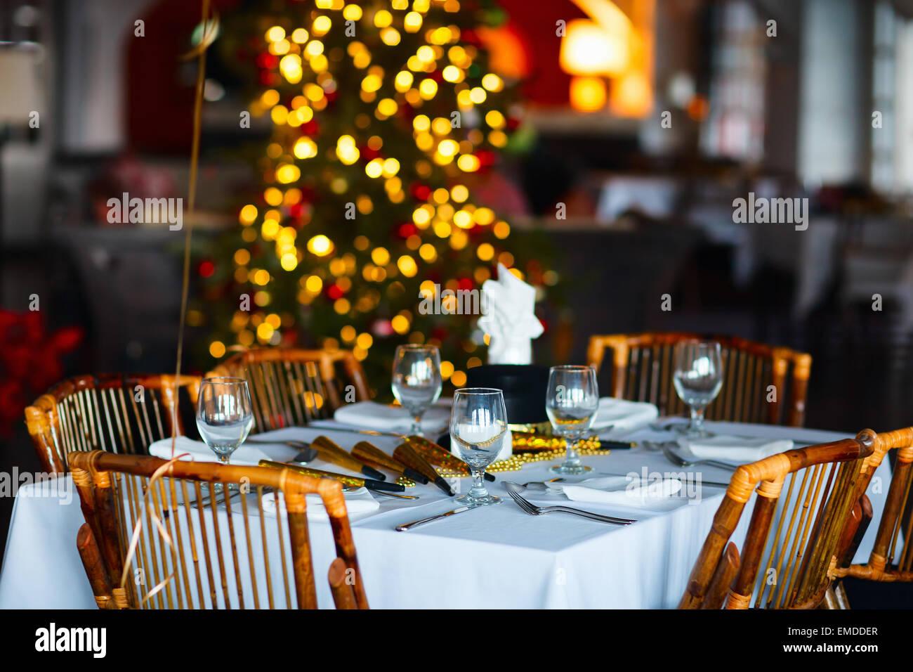 Réglage de la table de fête de Noël Photo Stock