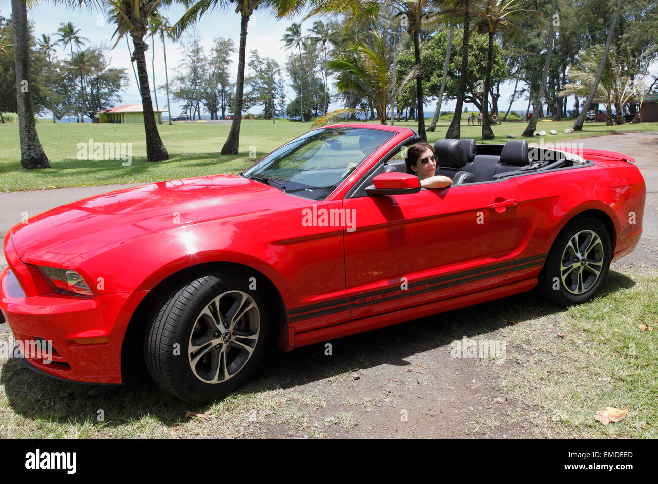 red ford mustang convertible photos red ford mustang convertible images alamy. Black Bedroom Furniture Sets. Home Design Ideas