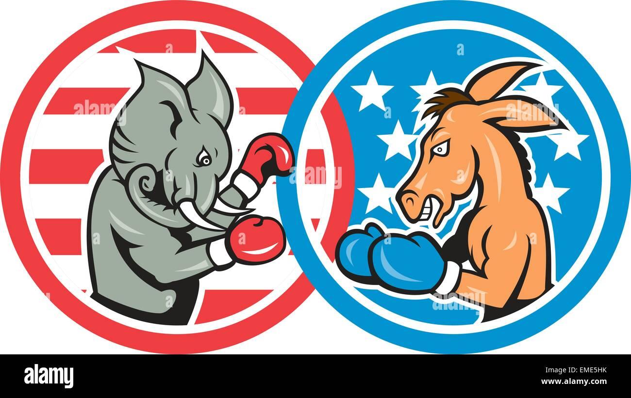 Par rapport à l'âne démocrate boxe mascotte éléphant républicain Illustration de Vecteur