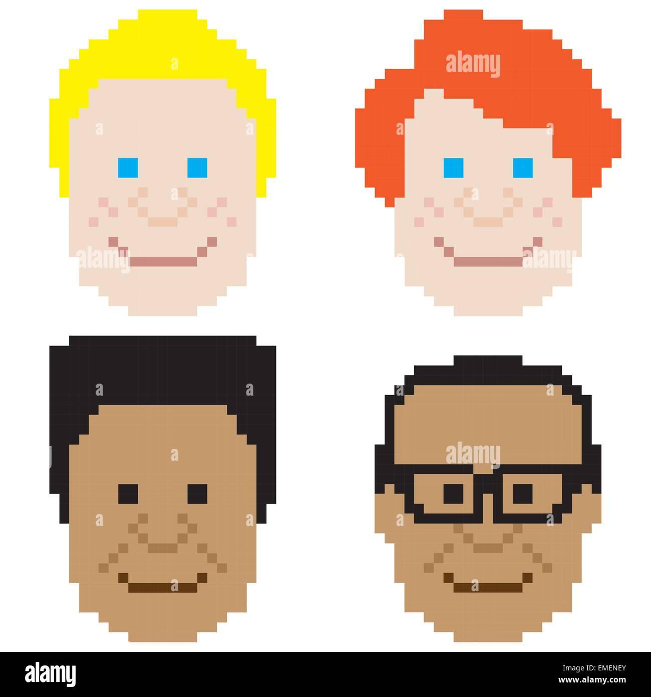 Face Garçon Pixel Art Vecteurs Et Illustration Image